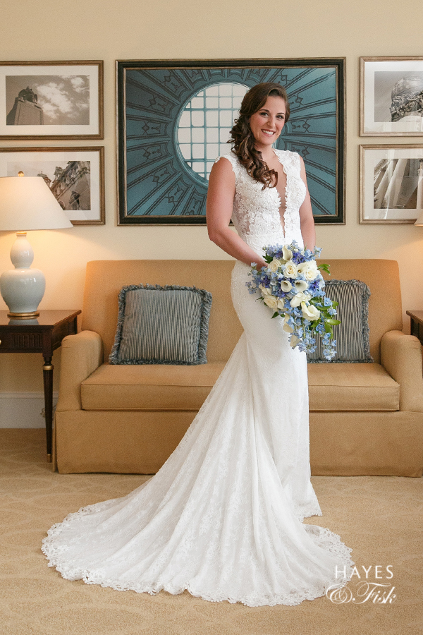 Amanda looking gorgeous in her bridal suite at The Jefferson after getting ready