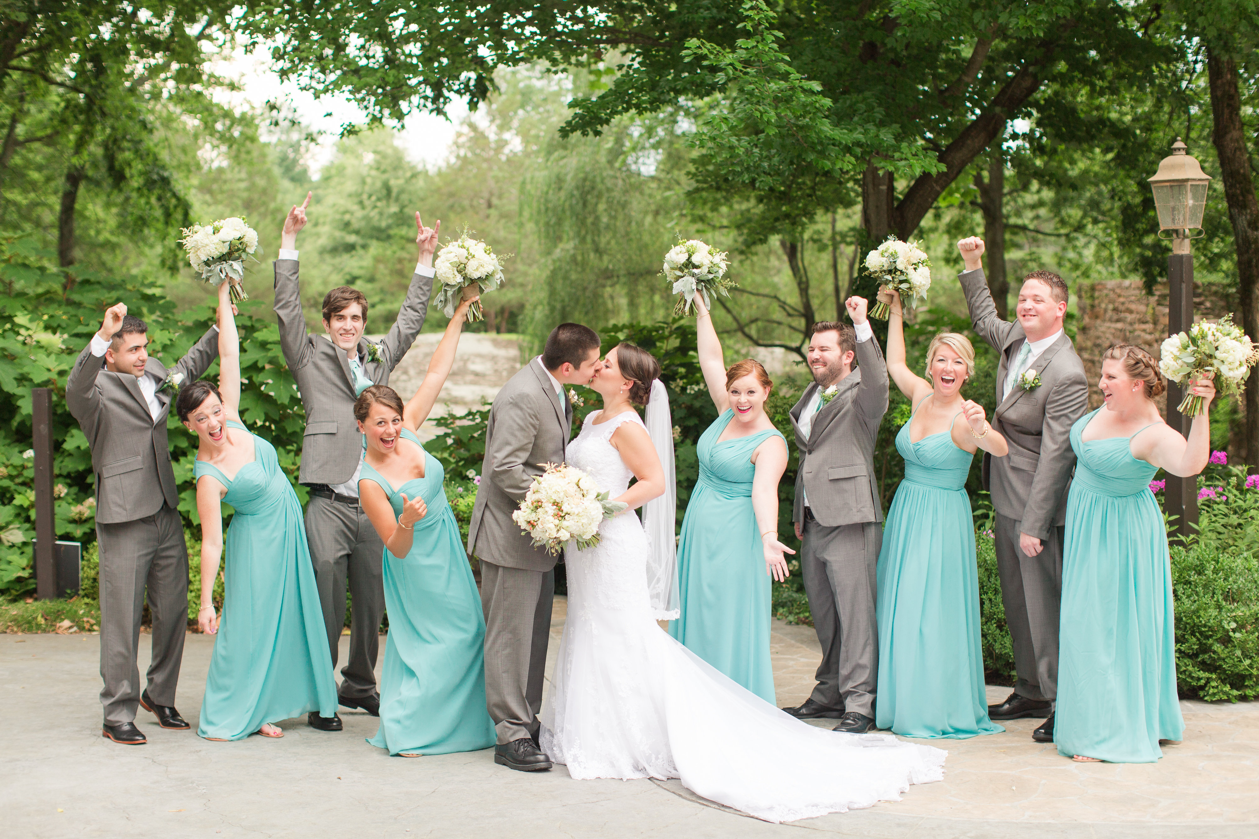 Curtis and Lauren's bridal party is definitely supportive of their marriage!