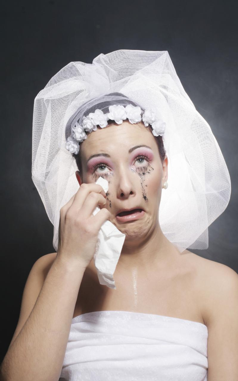 bride crying with makeup running down face