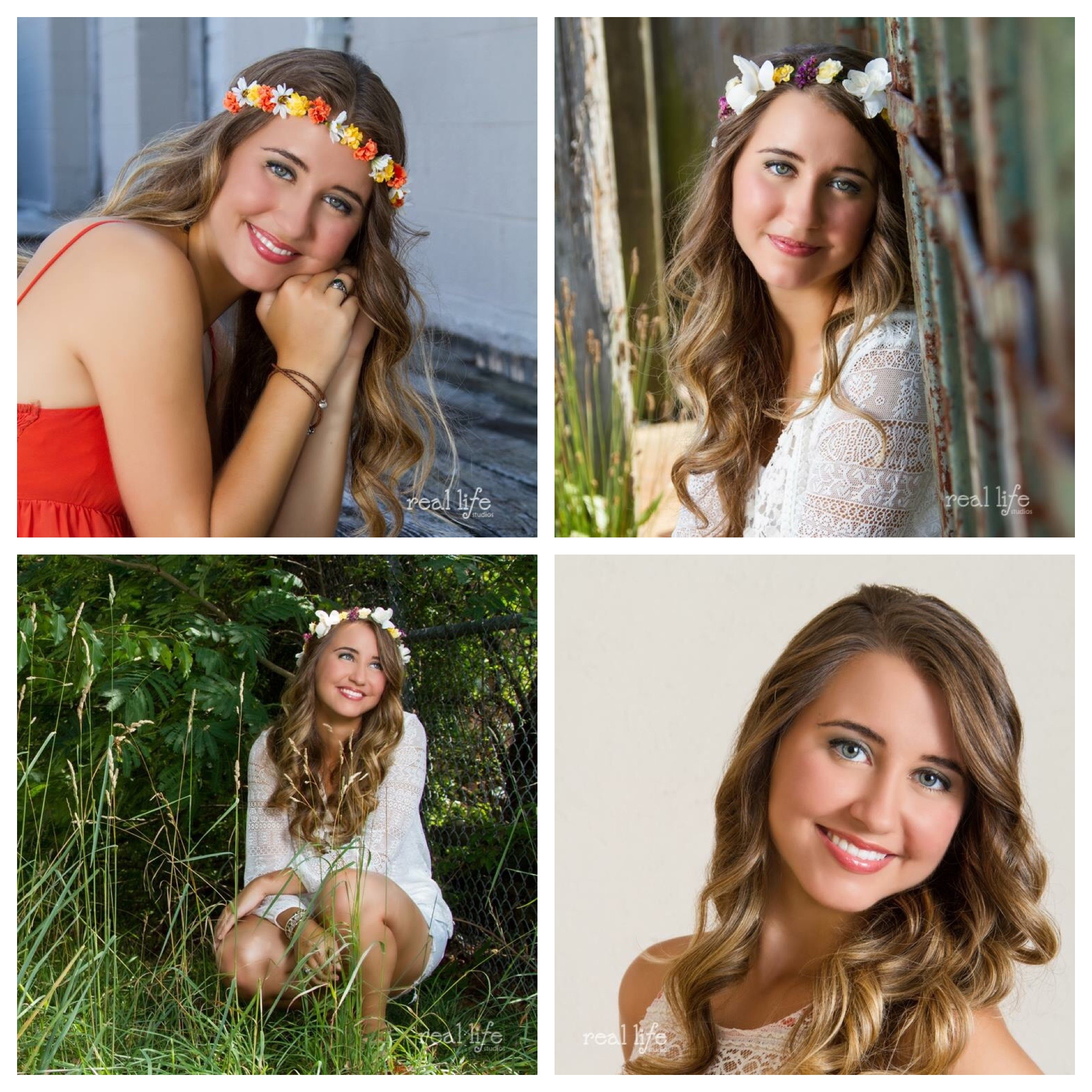 Senior portraits of girl wearing floral crown