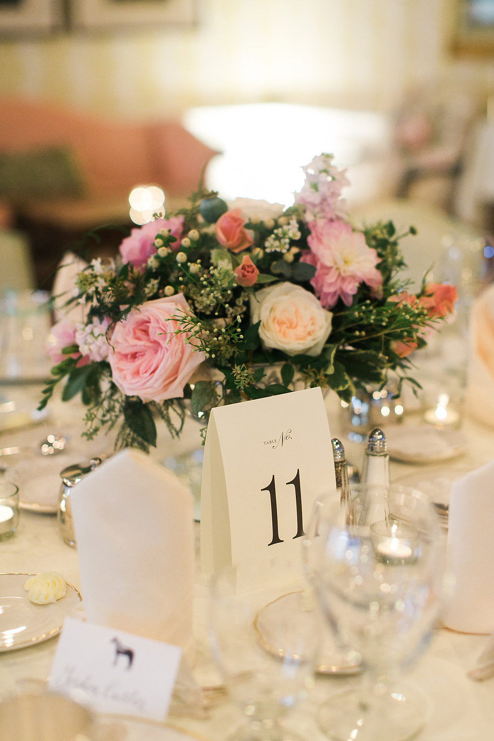 floral arrangement at a table setting