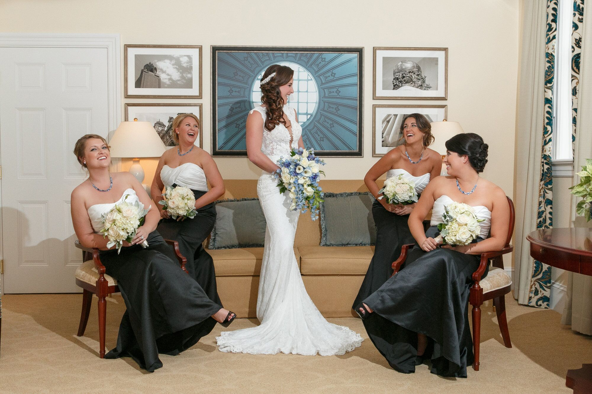 amanda laughing with her bridesmaids