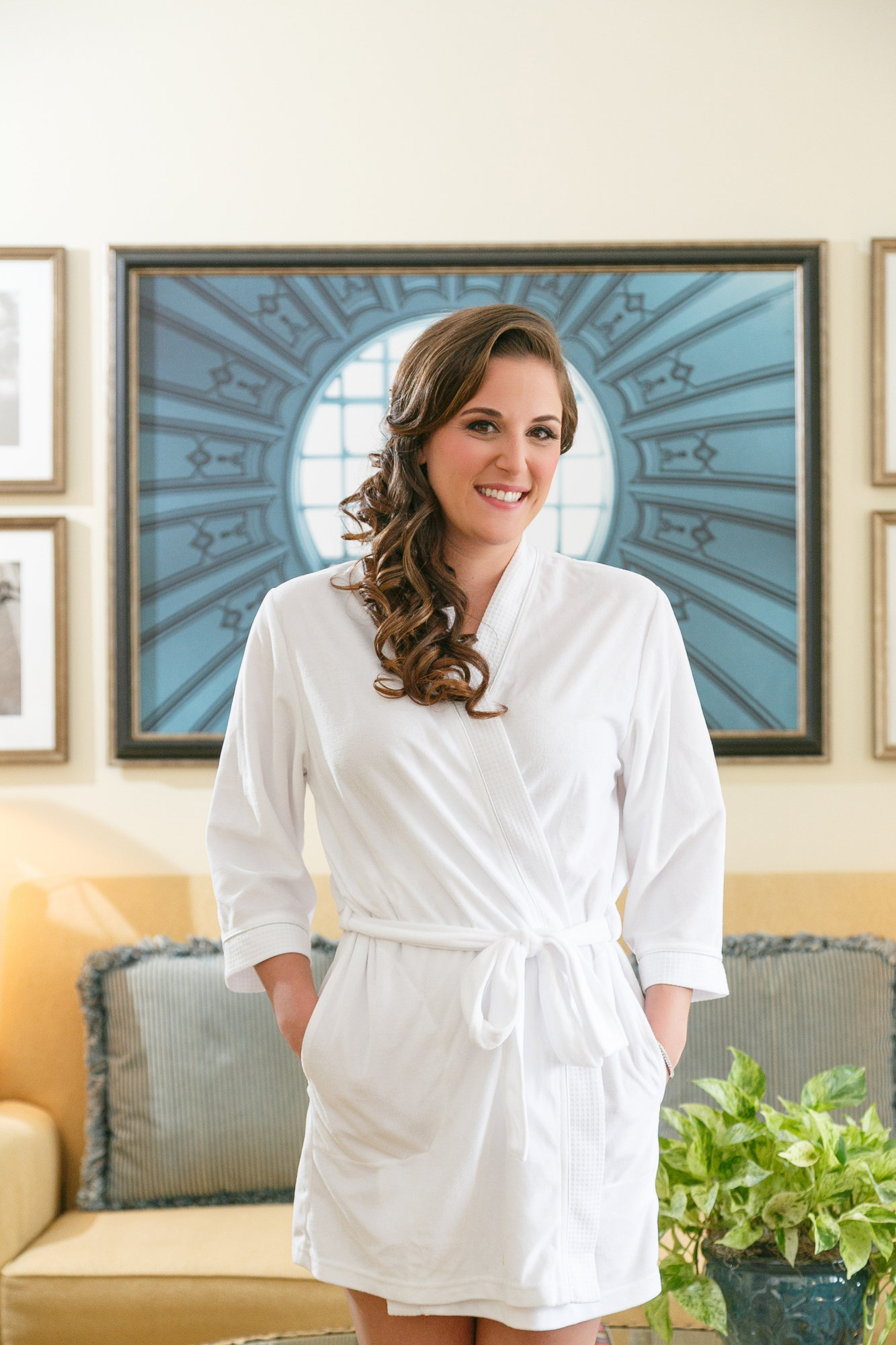 Amanda slammed up in white robe