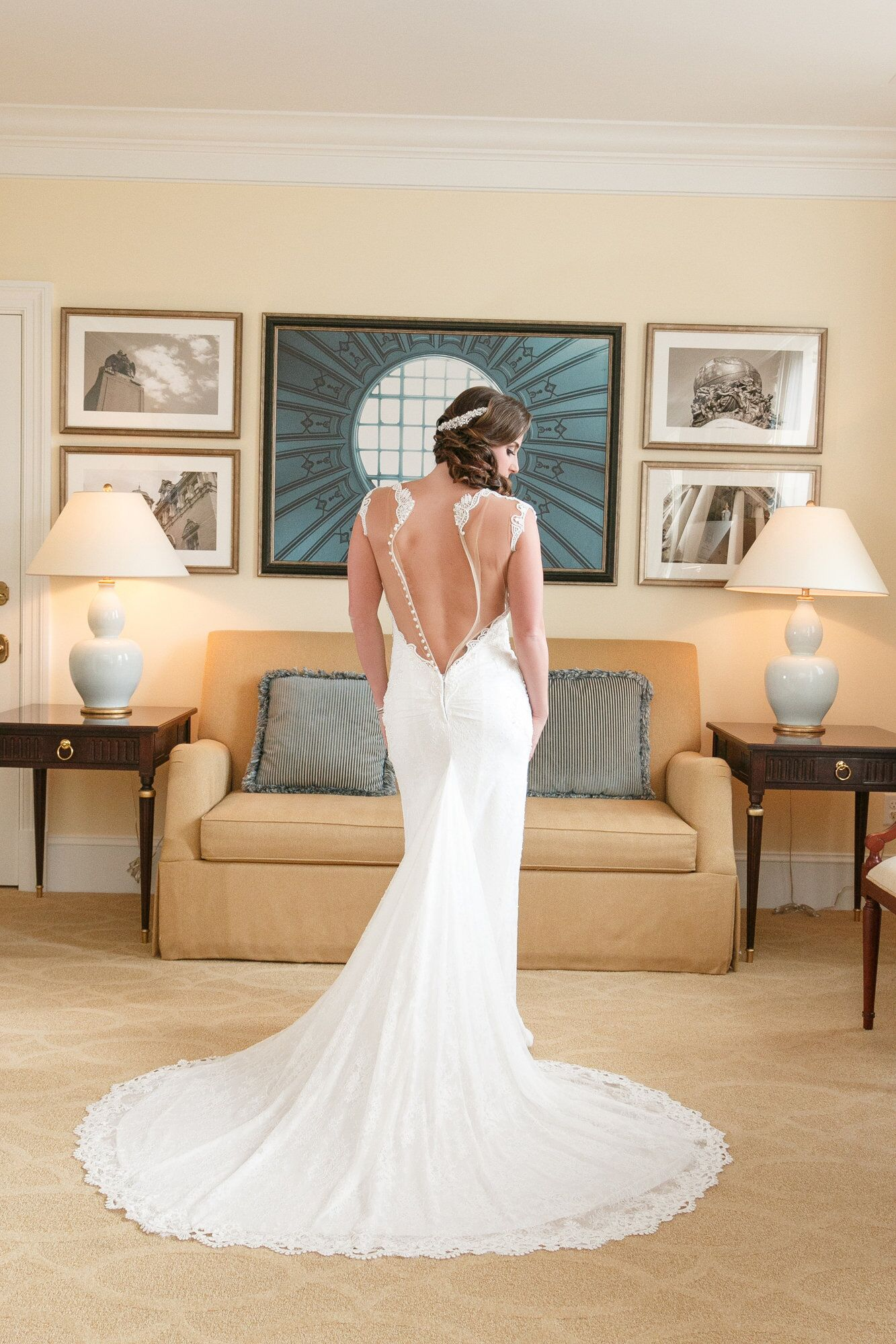 amandas wedding dress from behind