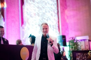 Monte speaks at Lou Stevens Glam Squad's 25th anniversary party